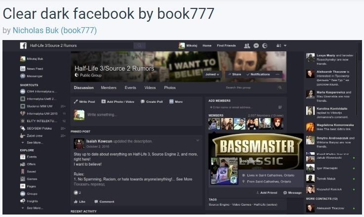 פייסבוק עם רקע כהה - תוסף סטיילוס לדפדפן